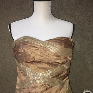 Gold sequin strapless cocktail mini dress